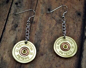 SHOTGUN SHELL EARRINGS ~ Bullet Shell Casings Dangle Earrings ~ 12g shotgun shells