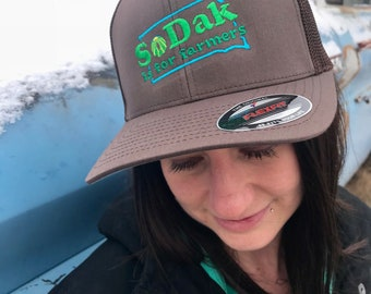 SoDak is for Farmers Brown Trucker Cap - SoDak South Dakota is for Farmers Retro Fitted Baseball Hat - EmbroideredFarming Cap Oh Geez Design