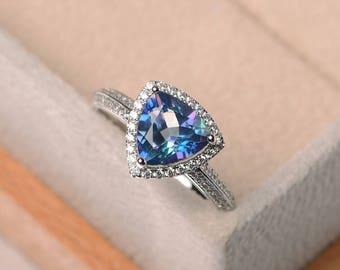 neptune garden topaz ring , neptune topaz ring,engagement ring, trillion cut, silver ring, November birthstone ring,blue gemstone ring
