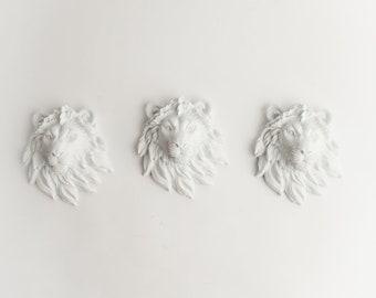 The Ramiros - Set of 3 White Mini Resin Lion Heads- Resin White Faux Taxidermy- Chic & Trendy