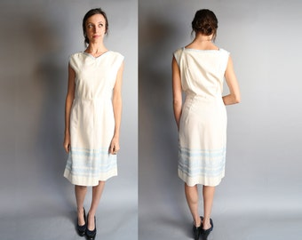Vintage 50's Embroidered French House Dress | L