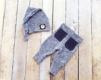 RTS - Newborn Boy Upcycle Pants and Baby Top Knot Hat Photo Prop - Ready to Ship