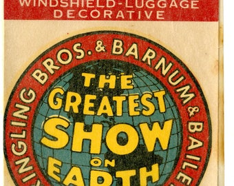 1950s Ringling Brothers & Barnum and Bailey Decal in Original Glassine Envelope