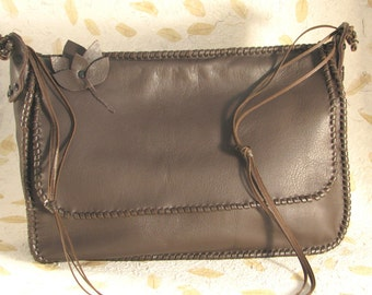 French Roast Chocolate Brown Leather Messenger Shoulder Bag Handmade