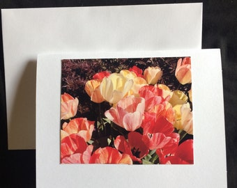 Blank Card - Handmade Photo Card - Tulips - Art Card - Greeting Card - Pretty Card