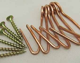 Copper Eyelet Hooks. Copper Wall Fixtures. Small Copper Wall Hooks with screws.Set of 6.