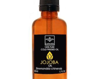 Capavita Organic Natural Jojoba Oil 100% Cold Pressed Pure Certified 50ml 1.7Oz