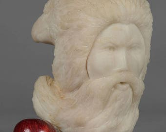 Winter Alabaster Sculpture Bearded Man and Eagles by Hank Smith