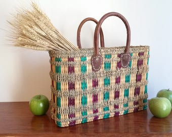This tote bag. Straw handbag. Rectangular Bangle tote bag. Size M. sack tote bag leather handles. Summer handbag. Tote shopping bag.