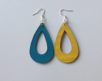 Upcycled Aqua and Yellow Leather Teardrop Earrings