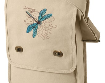 Miniature Menagerie Dragonfly Diagram Embroidered Canvas Field Bag