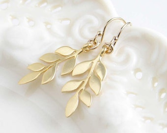 Leaf Earrings, Matte Gold Earrings, Nature Inspired, Twig Earrings, Bridesmaid Gift, Dainty Earrings, Gift for Her, Simple Modern Jewelry