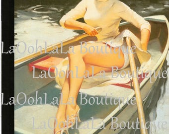 1957 Row Your Boat Redhead Digital Print Sexy Float Trip Pin-Up Printable Canoe Party Invitations Camping Kayak Canoeing Sailor Girl Invites