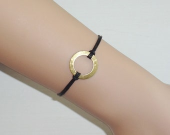 Circle Bracelet, Karma Anklet, Gold Plated Brass Circle, Eternity, Infinity Jewelry, Couples Jewelry, BFF Gift, Partner Gift, Valentines Day