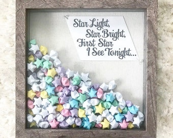 Brown Wooden Shadow Box filled with Pastel Origami Stars and Star Quote