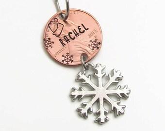 Custom Christmas Ornament Personalized, Personalized Ornament (qty 1) Personalized Christmas Ornament, Penny Ornament, Snowflake Ornament