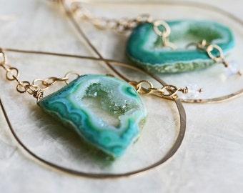 Druzy Earrings- Drusy Earrings - Gold Hoop Earrings - Geode Earrings- Green Druzy Earrings