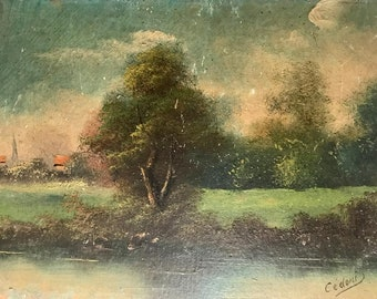 River and village in Northern France (antique oil painting)