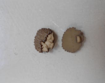 Decorative button, Brown Hedgehog