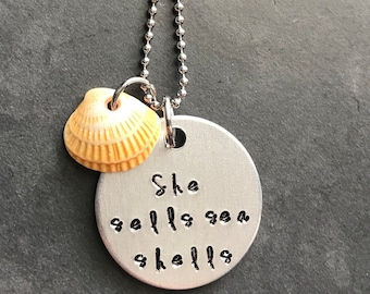 beach sea shell jewelry necklace she sells sea shells