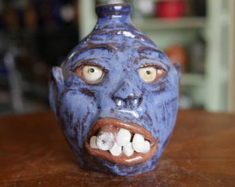 Craven Pottery Blue Face Jug with Cigar by Billy Joe Craven