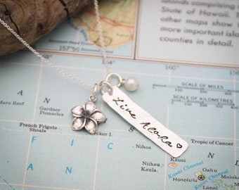 LIVE ALOHA Tag Necklace, Plumeria Necklace, Hawaiian Jewelry, Hand Stamped Necklace, Personalized Jewelry, Gifts for Her