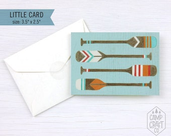Painted Canoe Oars Little Greeting Card * Mini Card and Envelope * Enclosure Card * Gift Card * Stationery