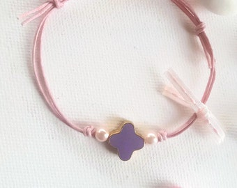 Pink bracelet with a purple enamel cross and pink pearls, baptism, gift, 25 pcs