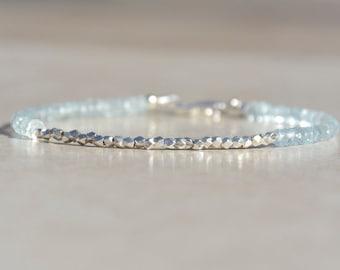 Aquamarine Bracelet, March Birthstone Bracelet, Beaded Gemstone Bracelet, Aquamarine Birthstone, Dainty Stack Bracelet, Gift for Women