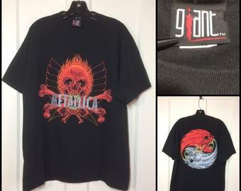 1990's Metallica Rebel t-shirt size large 21x29 Giant brand Pushead art yin yang skulls black metal punk grunge rock