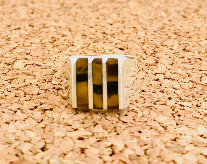 Sterling Silver Inlay Tiger Eye Ring, Tiger Eye Ring, Vintage Sterling Silver Tiger Eye Ring, Inlaid Tiger Eye
