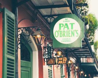 Pat O'Brien's, New Orleans Photography, Bourbon Street, French Quarter, NOLA, Bar Decor, Wall Art, Hurricane, Mint Julep