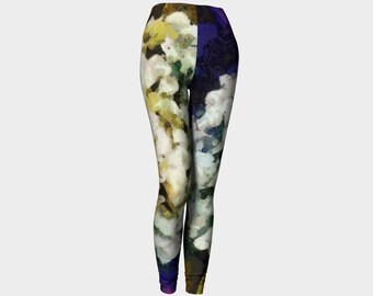 White Hydrangea Leggings Workout Leggings Printed leggings Yoga Colorful Leggings Runners Pants Dance Party Comfort Womens Floral Leggings