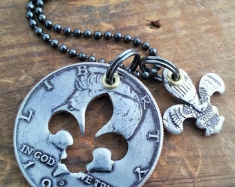 Mother's Day Fleur de lis Necklace made from a U.S. Half Dollar Mother's Day Gift for Mom Customizable Years