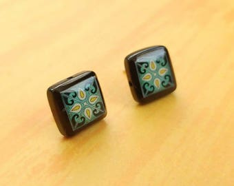 Black Onyx and Sterling Silver Post Earrings, Dark Blue & Yellow Spanish, Mexican, Catalina and Mediterranean Tile Inspired Wanderluster