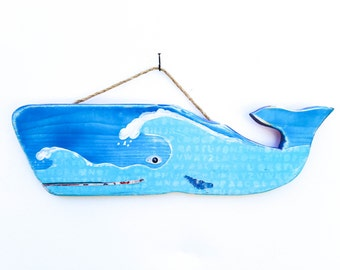 Whale with Waves-Personalize and Adopt This Original Art Item- Whale Beach Decor Ocean Waves Art Home Decor Reclaimed Wood  Mangoseed