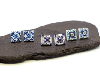 Square stud earrings, portuguese tile earrings, blue casual earrings, Portugal souvenir, ceramic earrings, anniversary gifts for women
