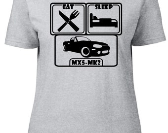 Eat. Sleep. MX5-Mk2. Ladies semi-fitted t-shirt.
