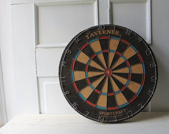 "Vintage Dart Board - Taverner Sportcraft - Made in England - 18"" diameter - Tavern / Bar Decor - Man Cave - Game Room - Father's Day Gift"