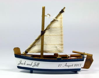 Personalised Wedding cake topper, miniature model sailing skiff, boat, nautical, beach theme, 10cm