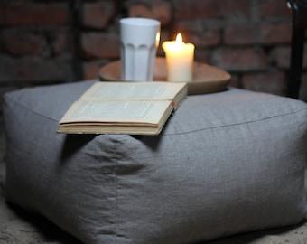 Linen square pouf, footstool, Grey ottoman, fabric pouf, foot rest, modern pouf, bean bag chair, rustic pouf, pouf table, floor pillow