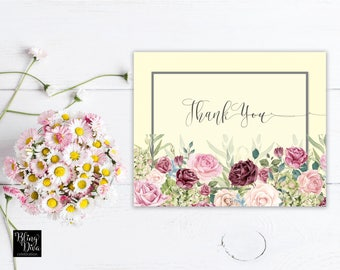 Summer Rose Thank You Card Printable