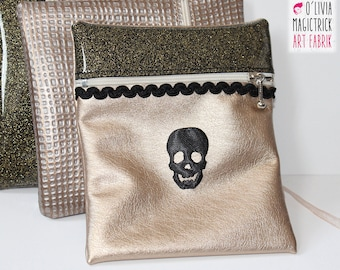 Small pouch gold and glitter with black skull #0011 applique