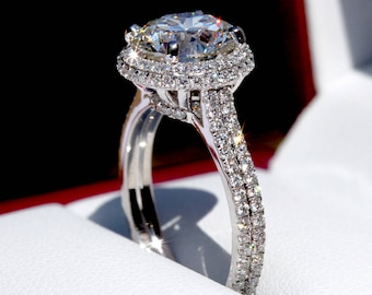 Platinum GIA certified HALO double shank Round Diamond Engagement Ring - 2.70 total - Pave - weddings - Beautiful Petra Rings - Bph035