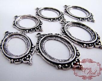 Antique Silvertone Ornate Oval Cabochon Pendant Settings, 6 pcs, lead nickel free brass cabochon settings - reynared supplies