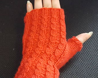 Red fingerless mitts