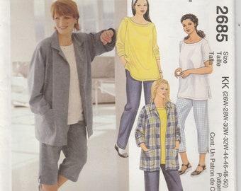 Casual Pants Pattern Pullover Top, Big Shirt Plus Size Misses Size 26 - 28 - 30 - 32 Uncut McCalls 2685