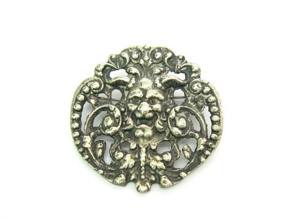 Vintage Ornate Gothic Green Man Devil Brooch