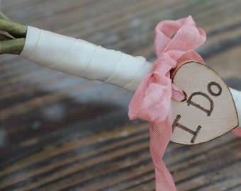 Bride Bouquet Charm Heart Personalized I Do, We Do, or Initials, Custom Color Ribbon