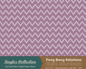 Purple Zig Zag Printable Digital Paper - Instant Download Supply for Scrapbooking & Crafting - Single Sheet Paper Printables